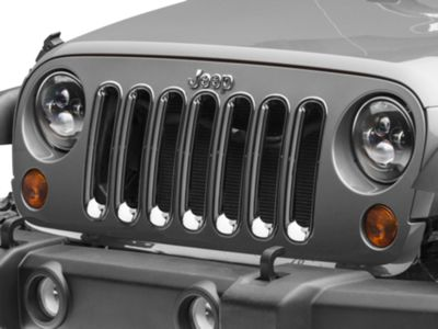 RedRock 4x4 Grille Inserts - Chrome (07-18 Jeep Wrangler JK)