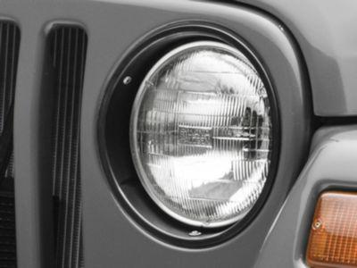 Add Rugged Ridge Black Plastic Headlight Bezel Pair (97-06 Wrangler TJ)
