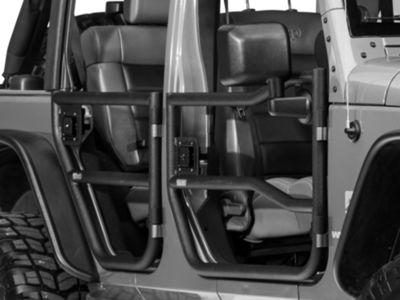 Add Rugged Ridge Black Textured Rear Tube Doors - Pair (07-17 Wrangler JK 4 Door)