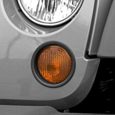 Add Rugged Ridge Black Turn Signal Lamp Trim (07-17 Wrangler JK)