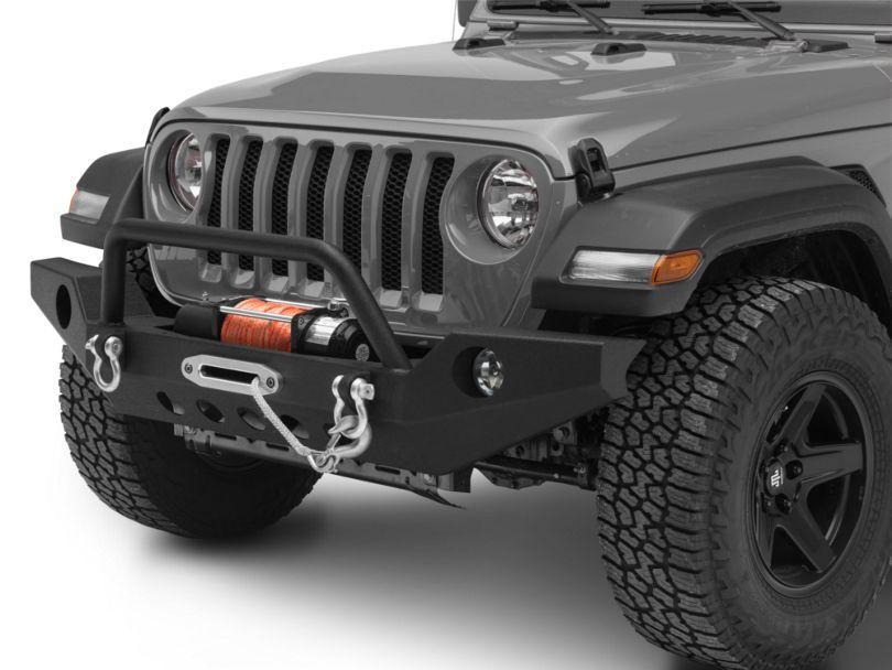 RedRock 4x4 Full Width Front Bumper w/ Halogen Fog Lights & Winch Mount (18-20 Jeep Wrangler JL)