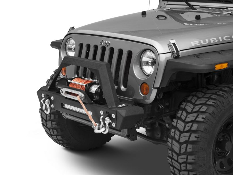 RedRock 4x4 Max-HD Stubby Front Bumper w/ LED Light Bar & Winch Mount (07-18 Jeep Wrangler JK)