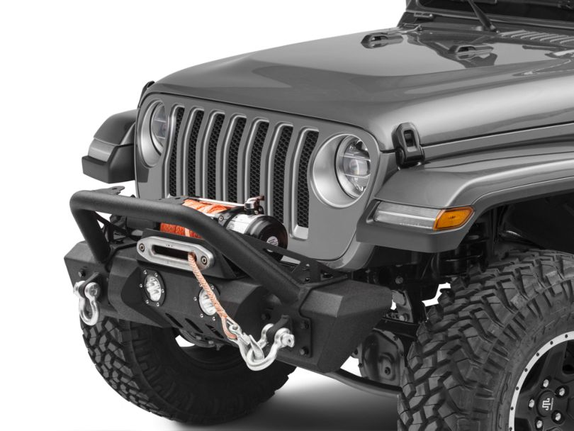 RedRock 4x4 Stubby Front Bumper w/ LED Fog Lights, Winch Mount & Over-Rider Hoop (18-20 Jeep Wrangler JL)