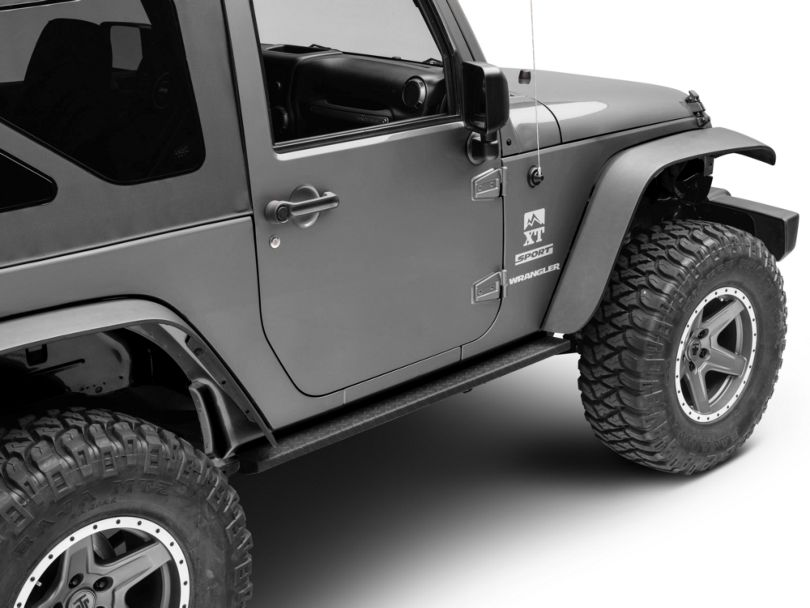 RedRock 4x4 HD Straight Rocker Steps - Textured Black (07-18 Jeep Wrangler JK 2 Door)