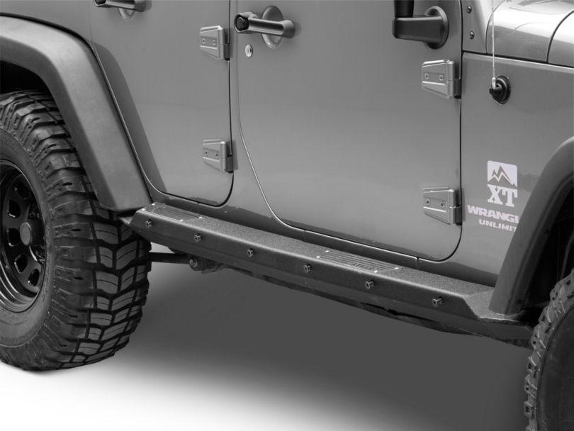 Smittybilt XRC Rocker Guards with Step; Textured Black (07-18 Jeep Wrangler JK 4 Door)