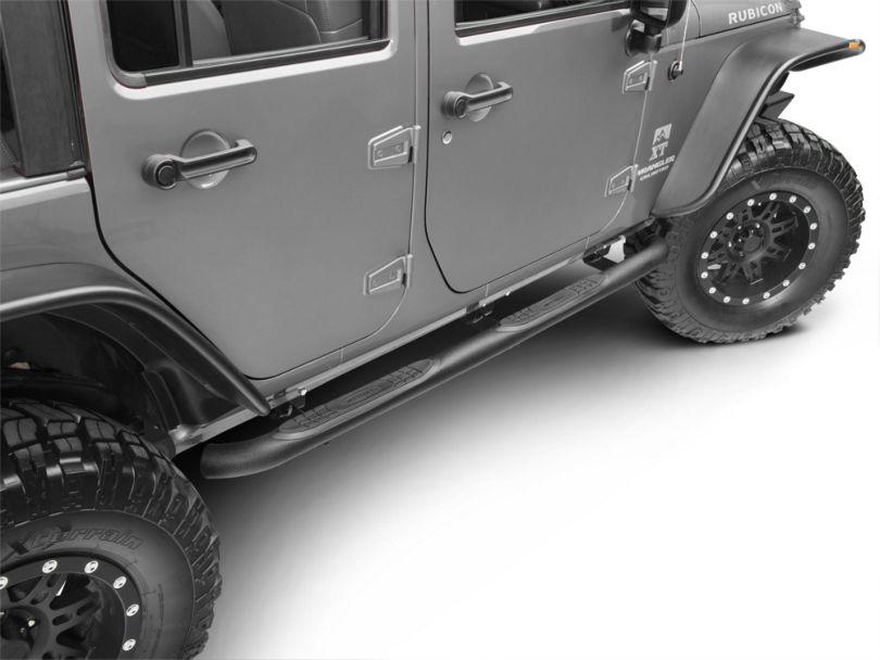 Smittybilt 3 Inch Sure Side Step Bars; Textured Black (07-18 Jeep Wrangler JK 4 Door)