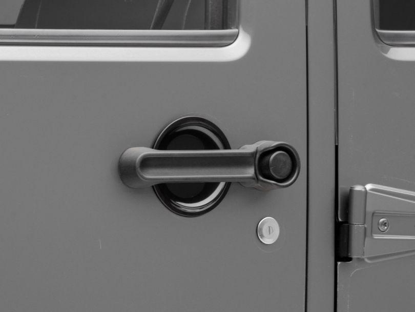 RedRock 4x4 Door Handle Recess Guards - Gloss Black (07-18 Jeep Wrangler JK 4 Door)