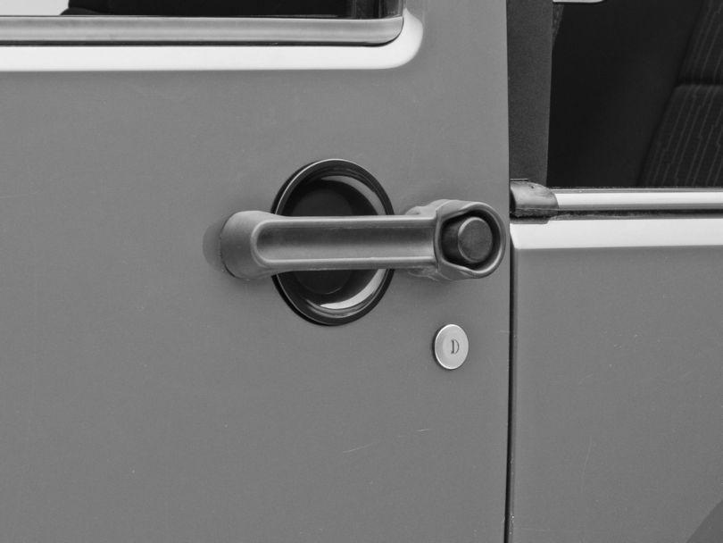 RedRock 4x4 Door Handle Recess Guards - Gloss Black (07-18 Jeep Wrangler JK 2 Door)
