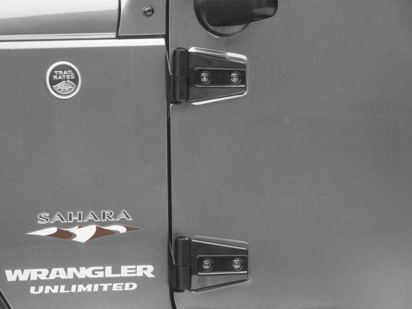 RedRock 4x4 Door Hinge Covers; Gloss Black (07-18 Jeep Wrangler JK 4 Door)