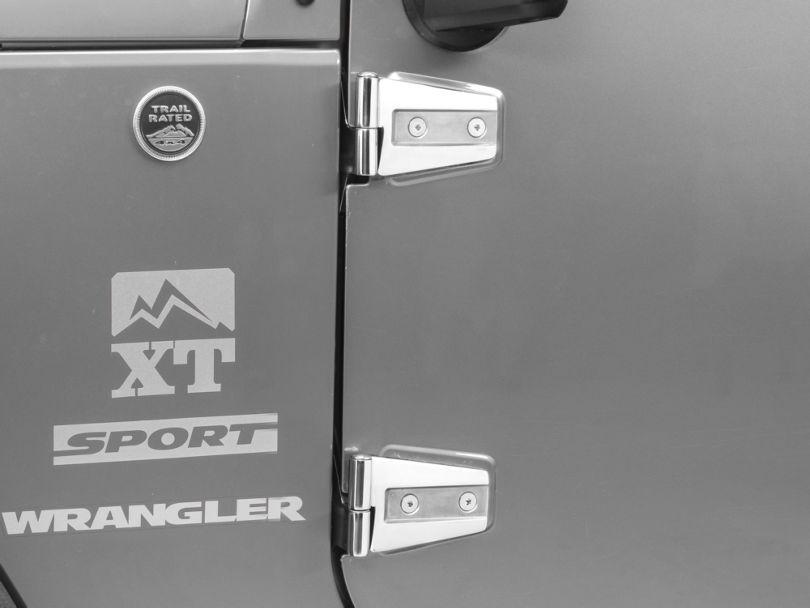 Rugged Ridge Door Hinges; Stainless Steel (07-18 Jeep Wrangler JK 2 Door)