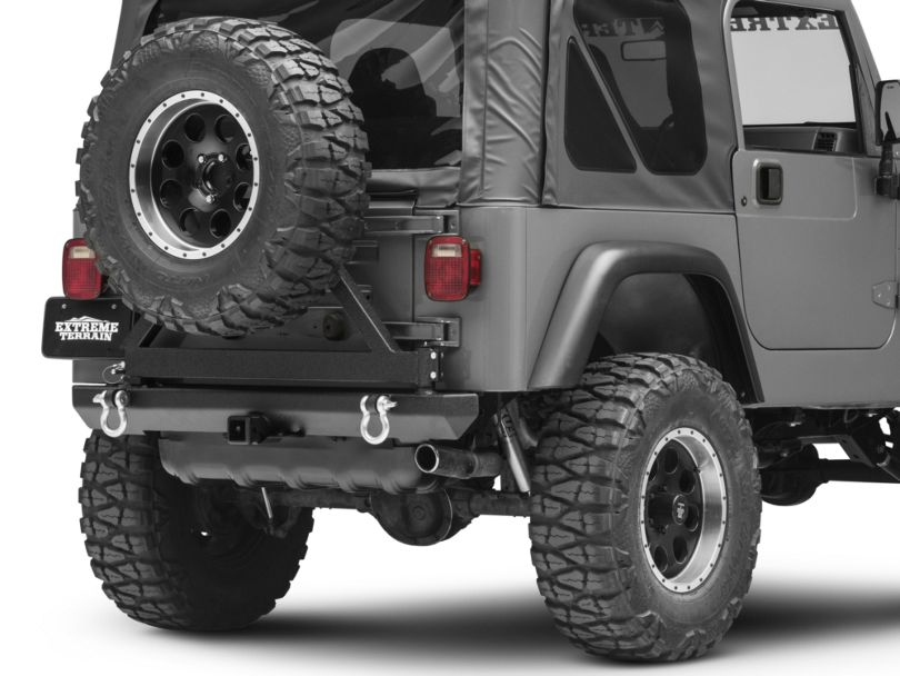 Smittybilt SRC Classic Rear Bumper w/ D-Rings, Hitch & Tire Carrier - Textured Black (87-06 Jeep Wrangler YJ & TJ)