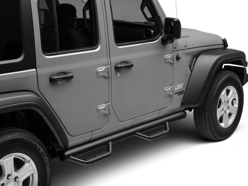 N-Fab Wheel 2 Wheel Nerf Side Step Bars; Gloss Black (18-20 Jeep Wrangler JL 4 Door)