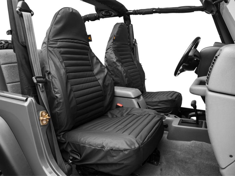 Bestop Front High-Back Seat Covers; Black Denim (97-02 Jeep Wrangler TJ)