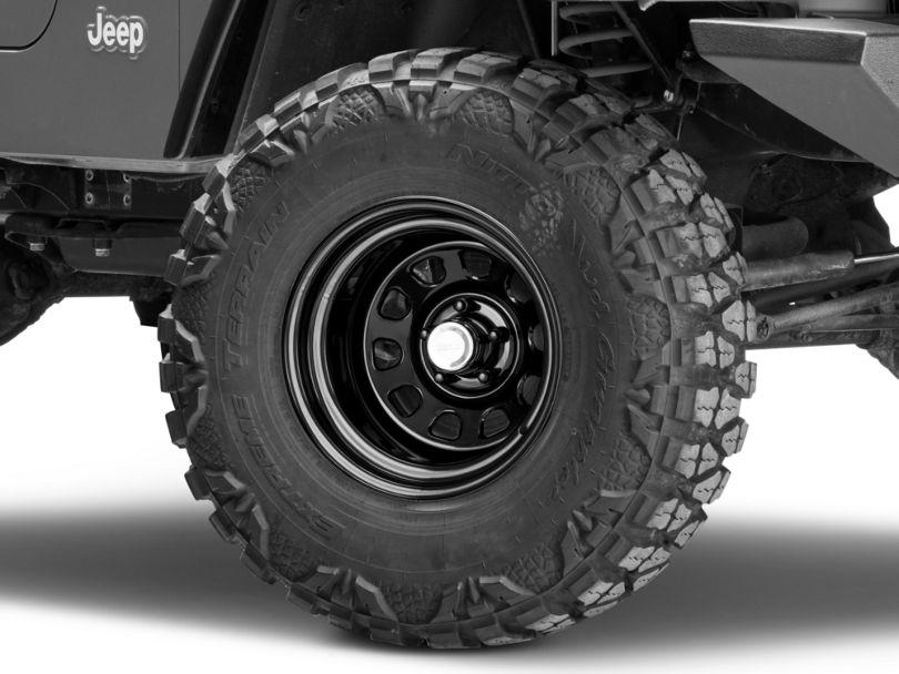 Rugged Ridge D-Window Black Steel Wheel; 15x10 (97-06 Jeep Wrangler TJ)