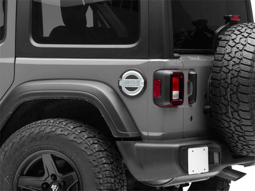 Mopar Satin Chrome Fuel Door w/ Jeep Logo (18-20 Jeep Wrangler JL)