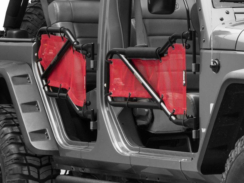 Steinjager Front & Rear Tube Doors - Black & Red Mesh (07-18 Jeep Wrangler JK 4 Door)