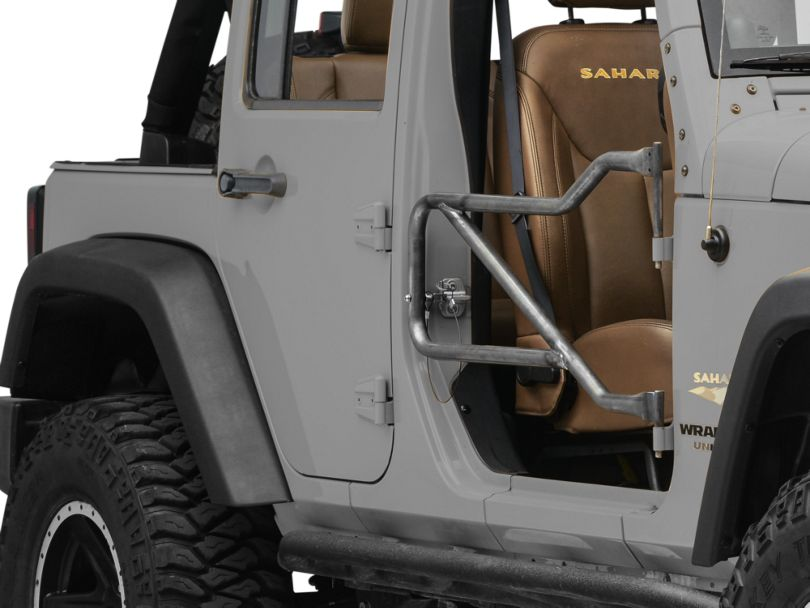 Steinjager Front Trail Tube Doors - Bare Metal (07-18 Jeep Wrangler JK)