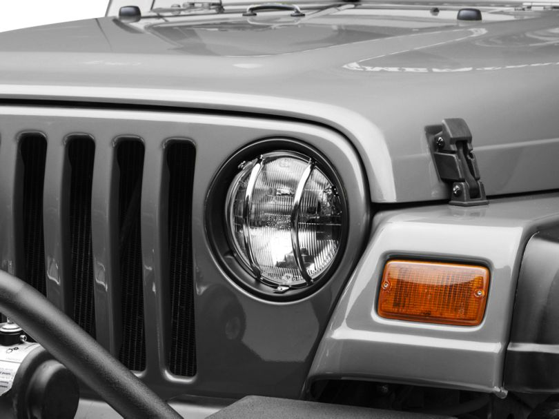 Rugged Ridge Euro Headlight Light Guards - Stainless Steel (97-06 Jeep Wrangler TJ)