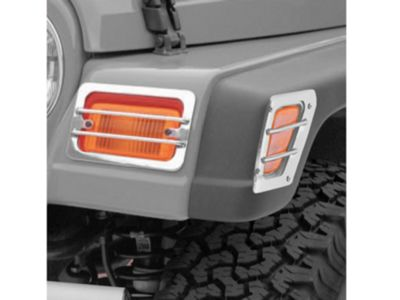 Rugged Ridge Front Side Marker & Turn Signal Euro Guard Kit - Stainless Steel (97-06 Jeep Wrangler TJ)
