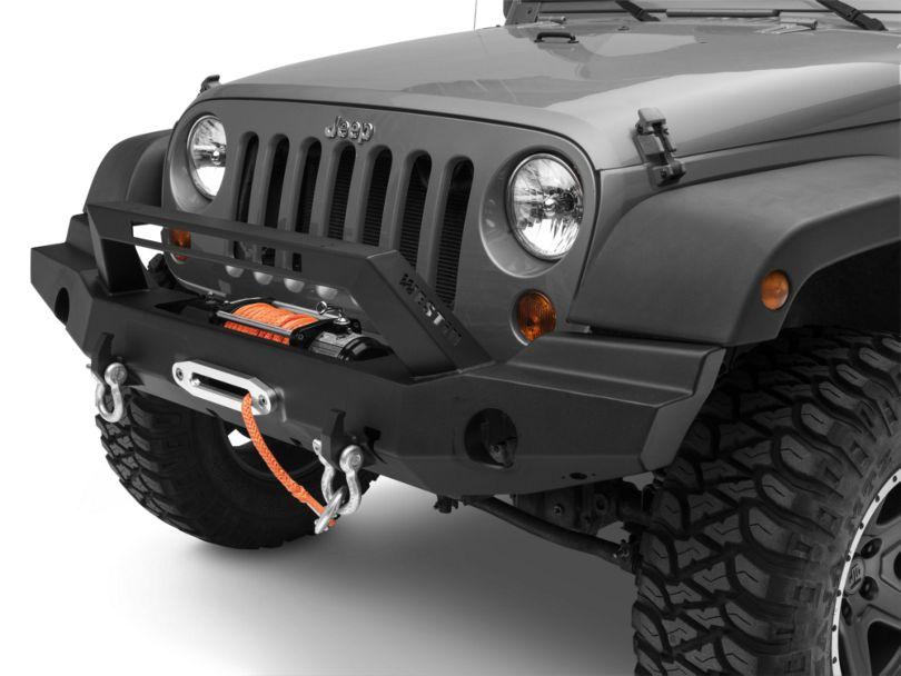 WJ2 Full Width Front Bumper w/ LED Light Bar Mount - Textured Black (07-18 Jeep Wrangler JK)