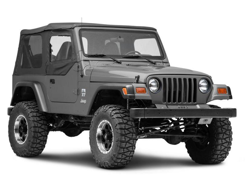 Bestop Fabric Upper Door Skins; Black Denim (97-06 Jeep Wrangler TJ)