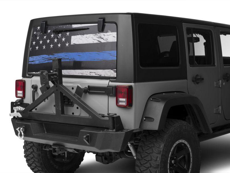 Perforated Real Flag Rear Window Decal w/ Blue Line (87-20 Jeep Wrangler YJ, TJ, JK & JL)