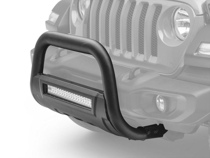Barricade HD Bull Bar w/ Skid Plate & 20 in. Dual Row LED Light Bar - Textured Black (18-20 Jeep Wrangler JL)