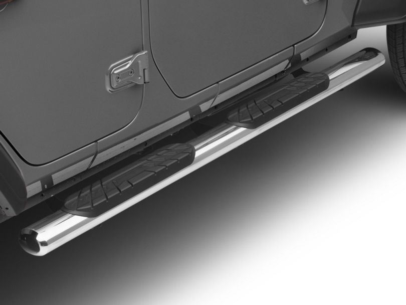 RedRock 4x4 4 in. Oval Straight Side Step Bars - Stainless Steel (18-20 Jeep Wrangler JL 4 Door)