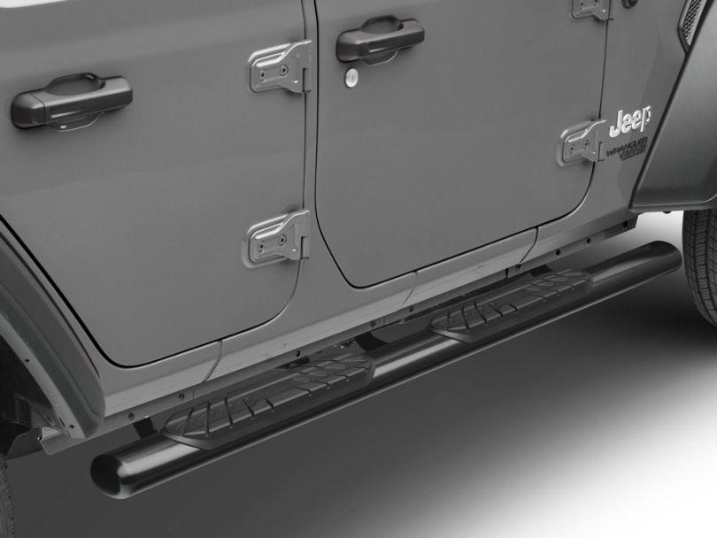 RedRock 4x4 4 in. Oval Straight Side Step Bars - Gloss Black (18-20 Jeep Wrangler JL 4 Door)