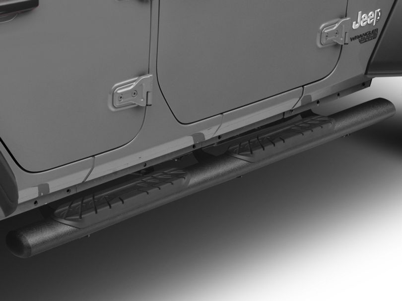 RedRock 4x4 4-Inch Oval Straight Side Step Bars; Textured Black (18-20 Jeep Wrangler JL 4 Door)