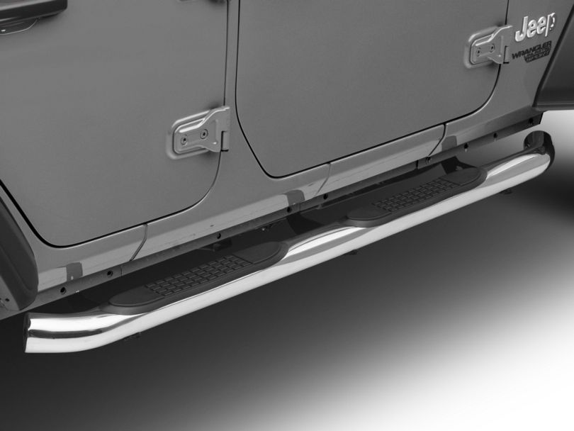 RedRock 4x4 3 in. Round Curved Side Step Bars - Stainless Steel (18-20 Jeep Wrangler JL 4 Door)