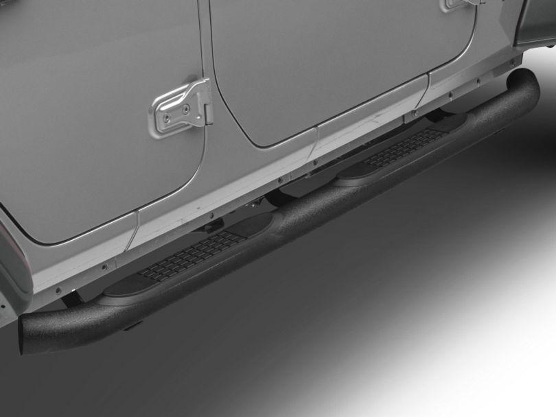 RedRock 4x4 3-Inch Round Curved Side Step Bars; Textured Black (18-20 Jeep Wrangler JL 4 Door)