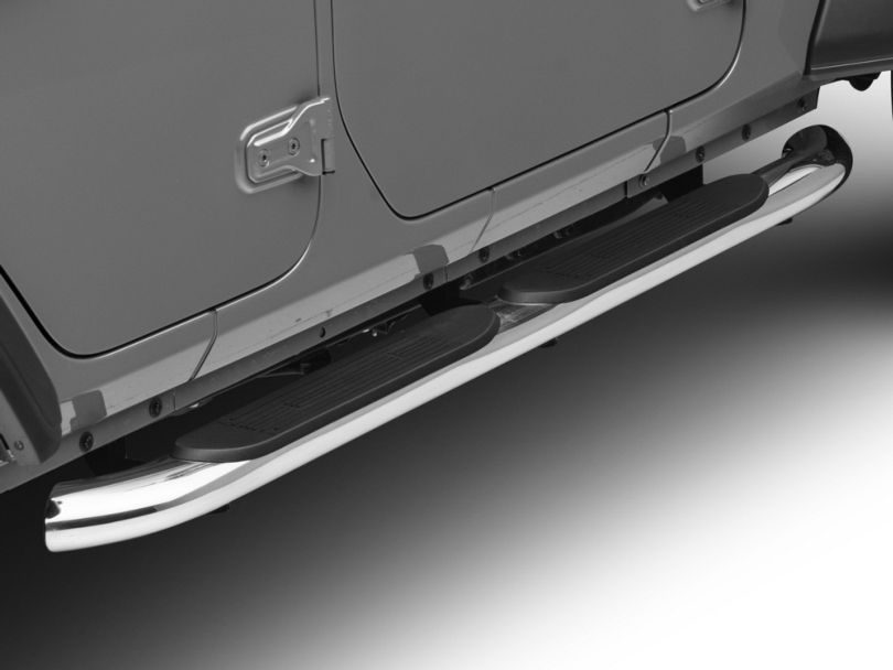 RedRock 4x4 4 in. Oval Curved Side Step Bars - Stainless Steel (18-20 Jeep Wrangler JL 4 Door)