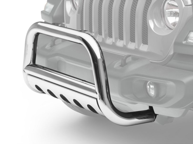 RedRock 4x4 3 in. Bull Bar w/ Skid Plate - Stainless Steel (18-19 Jeep Wrangler JL)