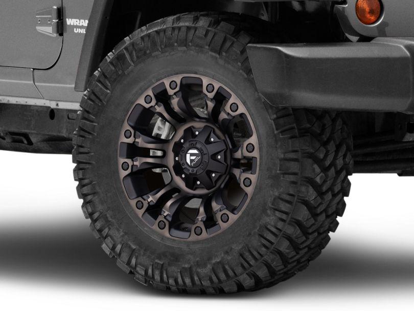 Fuel Wheels Vapor Matte Black Machined Wheel; 18x9 (07-18 Jeep Wrangler JK)