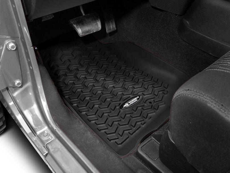 Rugged Ridge All-Terrain Front Floor Mats - Black (07-18 Jeep Wrangler JK)