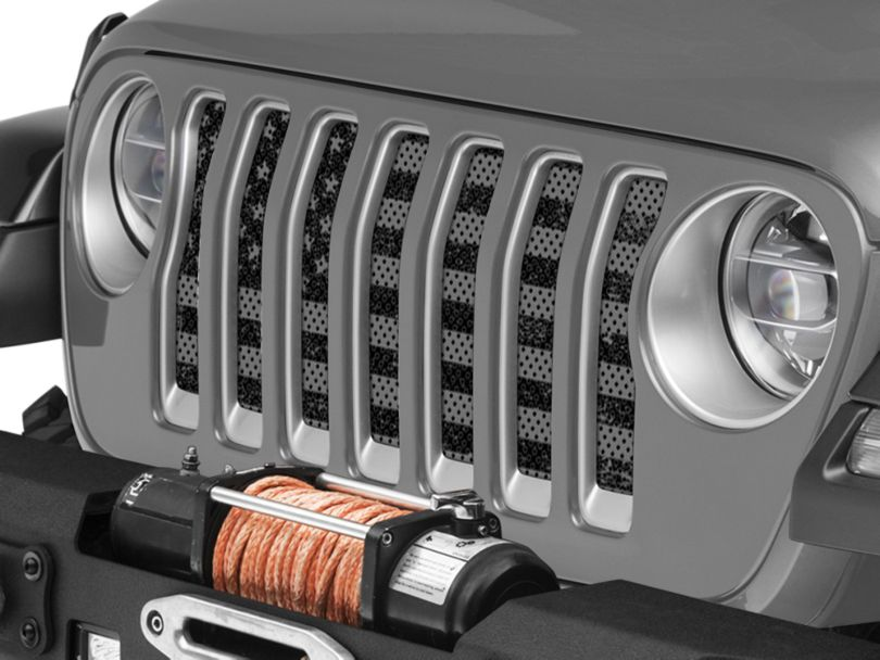 Under the Sun Grille Insert - Distressed Black Out (18-20 Jeep Wrangler JL)