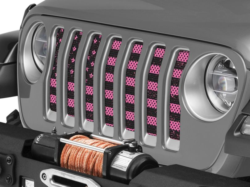 Under the Sun Grille Insert; Distressed Pink (18-20 Jeep Wrangler JL)