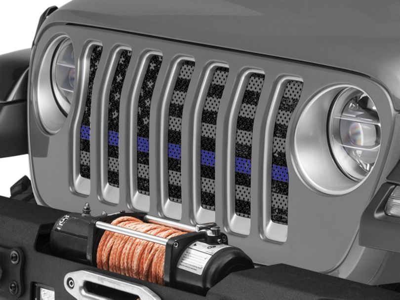 Under the Sun Grille Insert - Distressed Thin Blue Line (18-20 Jeep Wrangler JL)