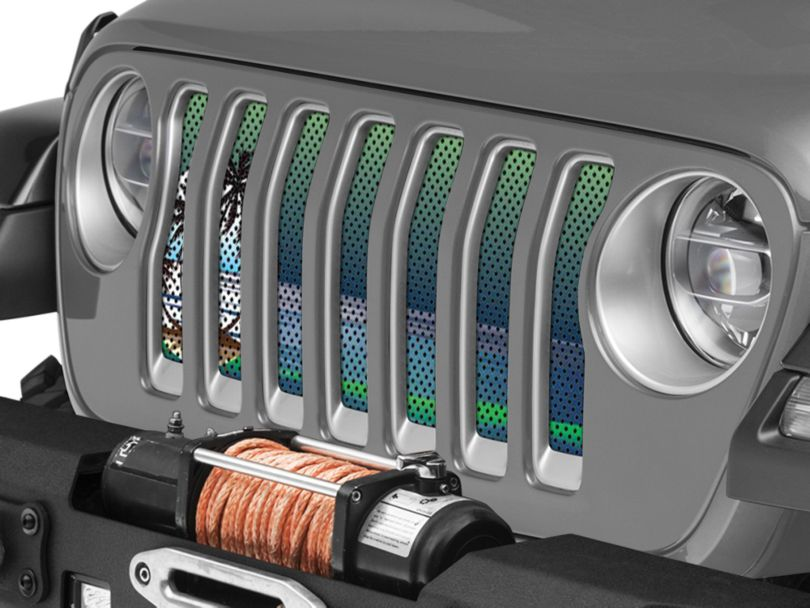 Under the Sun Grille Insert; Endless Summer Blue Green Palm Tree (18-20 Jeep Wrangler JL)