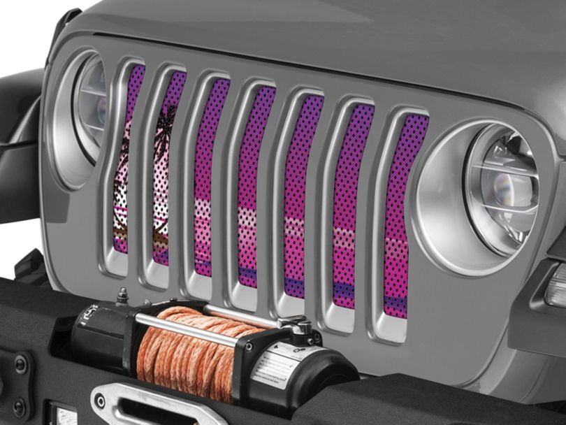 Under the Sun Grille Insert - Endless Summer Purple Palm Tree (18-20 Jeep Wrangler JL)