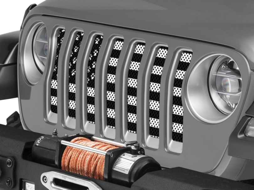 Under the Sun Grille Insert; Paws Black and White (18-20 Jeep Wrangler JL)