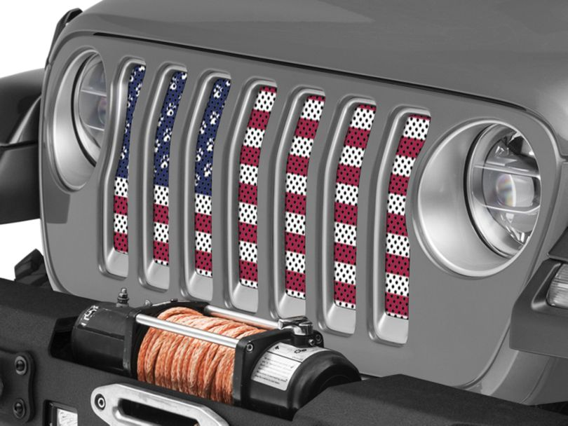 Under the Sun Grille Insert; Paws Old Glory (18-20 Jeep Wrangler JL)