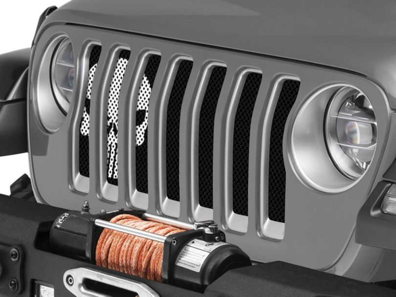 Under the Sun Grille Insert - Punisher Black and White (18-20 Jeep Wrangler JL)