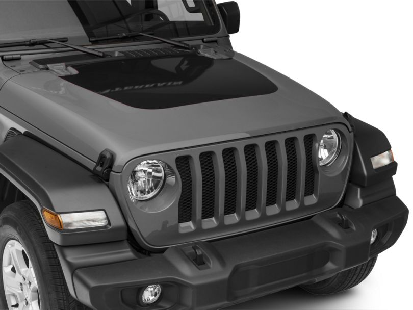 Hood Decal; Black (18-20 Jeep Wrangler JL, Excluding Rubicon)