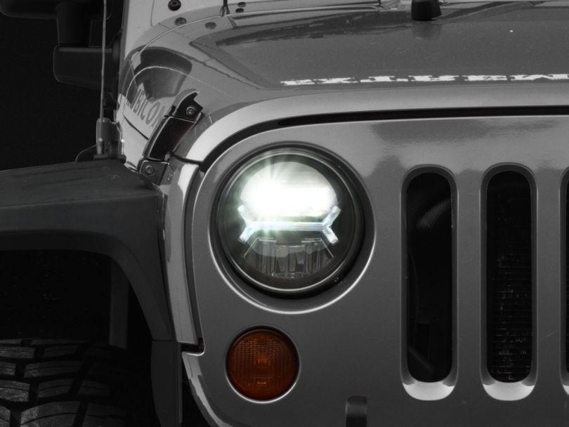 Raxiom Black LED Headlights w/ Halos (07-18 Jeep Wrangler JK)