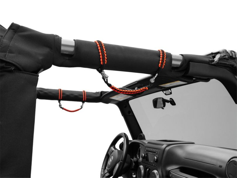 Alterum Front Rollbar Paracord Grab Handles with D-Rings; Black and Neon Orange (07-20 Jeep Wrangler JK & JL)