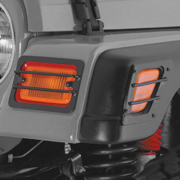 Rugged Ridge Euro Turn Signal and Side Marker Light Guards; Black (97-06 Jeep Wrangler TJ)
