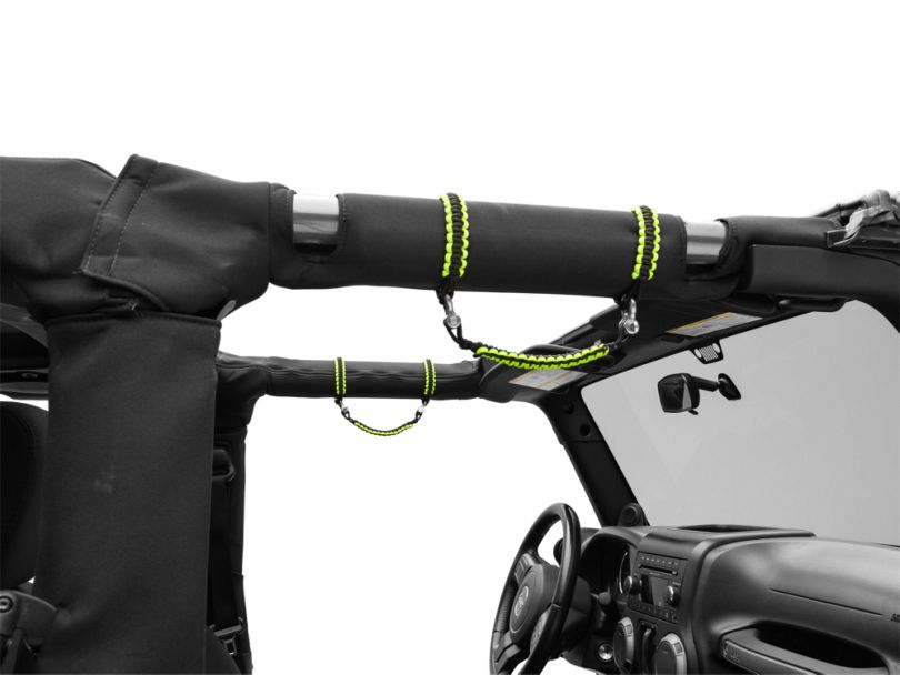 Alterum Front Rollbar Paracord Grab Handles with D-Rings; Black and Neon Green (07-20 Jeep Wrangler JK & JL)