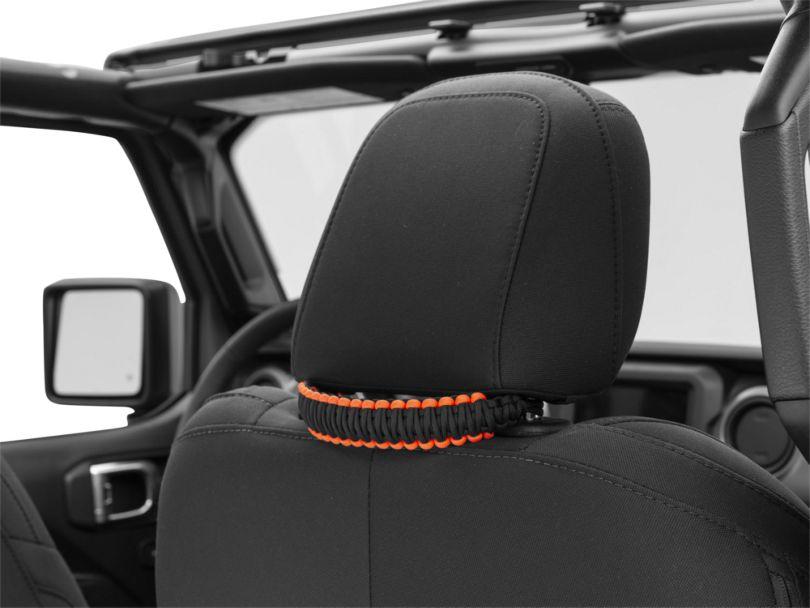 Alterum Headrest Paracord Grab Handles - Black and Neon Orange (07-20 Jeep Wrangler JK & JL)
